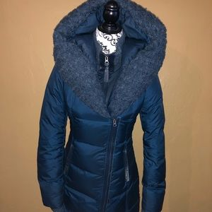 Mackage navy blue tweed coat size Xs